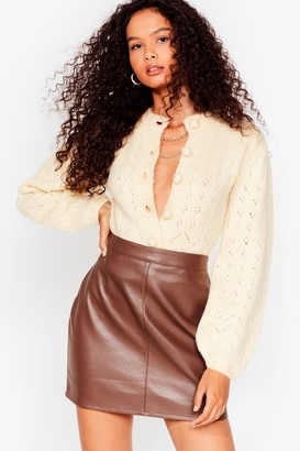 Nasty Gal Womens If You Want Knit Pointelle Cropped Cardigan - Cream