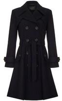 Anastasia Beverly Hills Women's Navy Wool Winter Belted Trench Coat blue