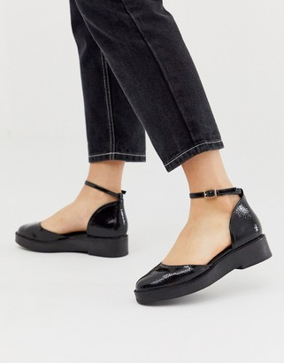 Asos DESIGN Mamza chunky flat shoes in black