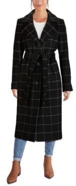 Jones New York Single-Breasted Belted Maxi Coat