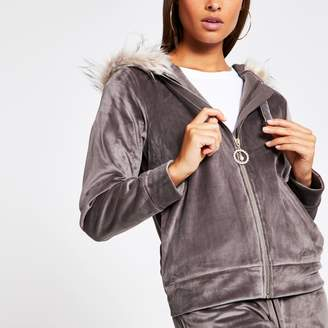 River Island Womens Grey velour faux fur trim hoodie