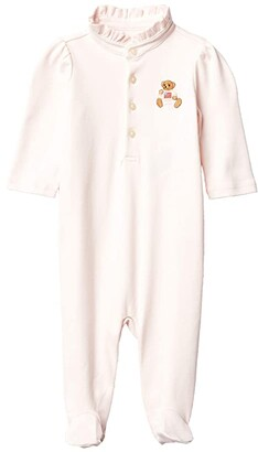 Polo Ralph Lauren Kids Bear Embroidery Footie (Infant) (Delicate Pink) Girl's Jumpsuit & Rompers One Piece