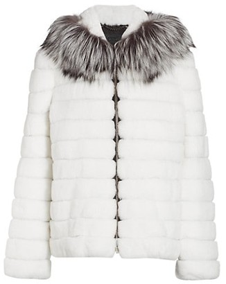 The Fur Salon Julia & Stella For Sectioned Rabbit Fur & Fox Fur-Hood Jacket