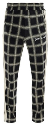 Palm Angels Logo-print Checked-velour Track Pants - Black Beige