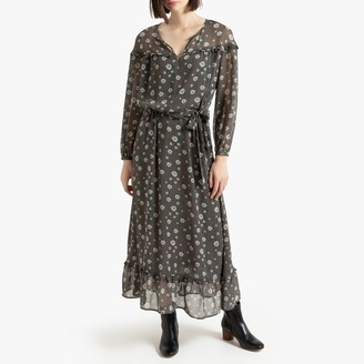 La Redoute Collections Printed Voile Dress with Long Sleeves