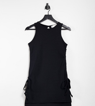 Outrageous Fortune Tall exclusive ruched side detail longline top in black