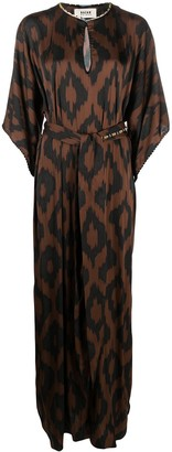 Bazar Deluxe Belted Graphic-Print Maxi Dress