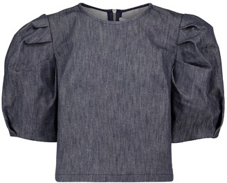 Carolina Herrera Puff-sleeve denim top