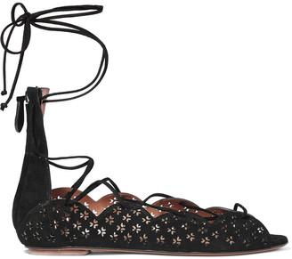 Alaia Carine Lace-up Laser-cut Suede Sandals