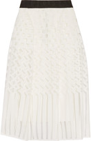 Milly Illusion grosgrain-trimmed jacquard midi skirt