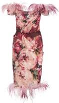 Marchesa Off-The-Shoulder Printed Dress