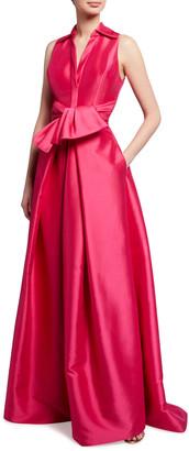 Theia Sleeveless Collared Faux Shirt Dress Mikado Gown
