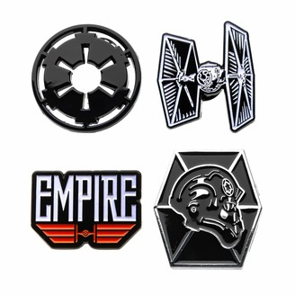Star Wars Jewelry Unisex Adult Imperial Galactic Empire and Tie Fighter Enamel Lapel Pin Set (4 Piece)