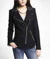 Express (minus The) Leather Trim Wool Blend Moto Jacket