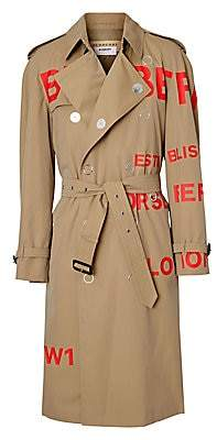 Burberry Men's Logo Double-Breasted Snap Trench Coat