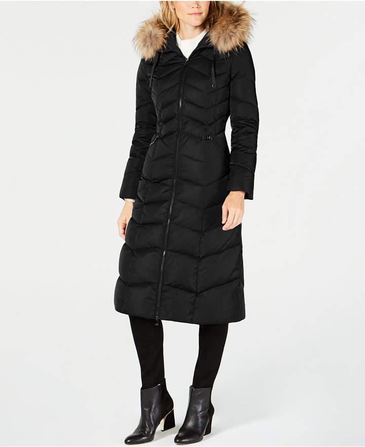 T Tahari Fur-Trimmed Hooded Down Coat