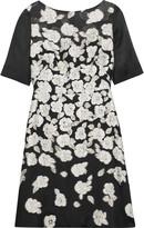 Lela Rose Organza-paneled metallic brocade dress