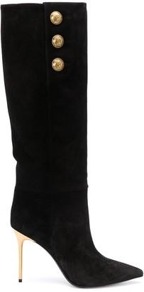 Balmain Gold-Tone Detail Pointed Toe Boots