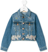 Pamilla Kids - bejewelled denim jacket - kids - Cotton/Spandex/Elastane - 4 yrs