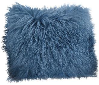 "Saro Lifestyle Mongolian Lamb Fur Poly Filled Throw Pillow, Blue Gray, 16""x16"""