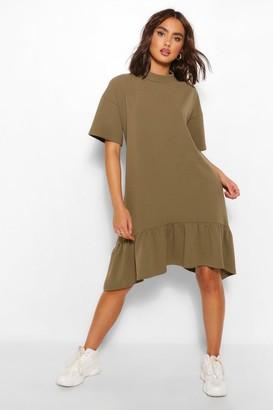 boohoo Crew Neck Drop Hem Midi T-Shirt Dress