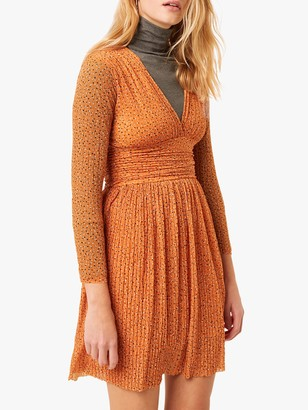 French Connection Tabia Spot Print Jersey V-Neck Dress, Jaffa Orange