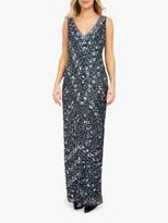Beaded Dreams Embellished Sleeveless V-Neck Maxi Dress, Navy Blue