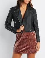 Charlotte Russe Lace-Up Detail Faux Leather Jacket