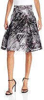 Milly Women's Scribble Print Modern Pleated Mid Skirt