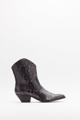 Nasty Gal Womens Snake the Risk Faux Leather Western Boots - Grey
