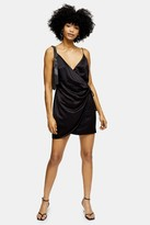 Topshop Black Satin Wrap Mini Slip Dress