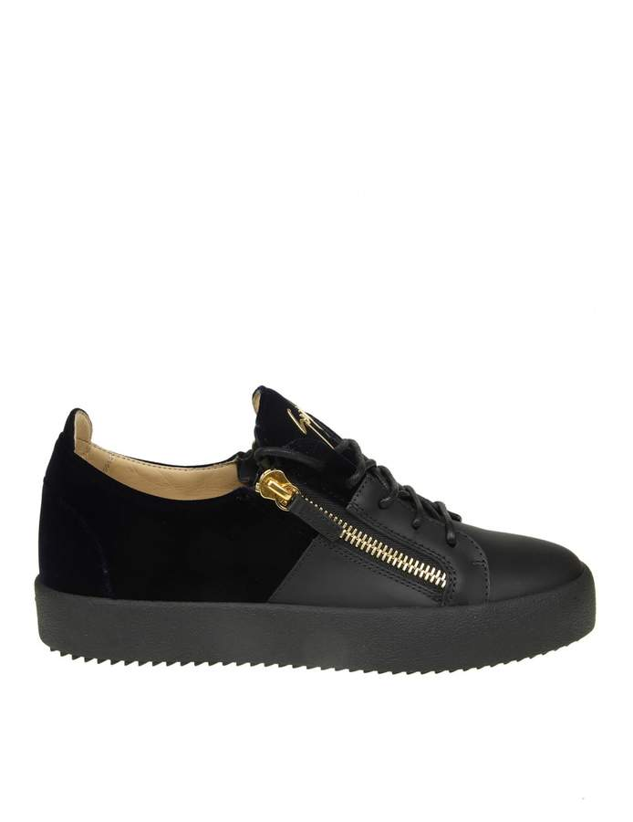 Giuseppe Zanotti may Sneakers In Black Leather With Velvet Insert