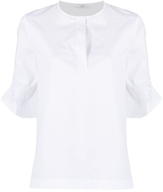 Peserico Short-Sleeve Shift Blouse