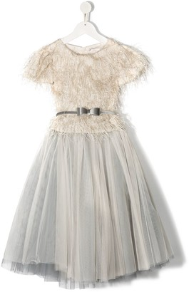 MonnaLisa Feather-Trim Detail Gown