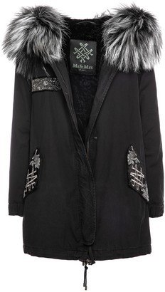 Mr & Mrs Italy Black Parka A-line With Beads Embroideries