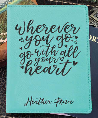 Stamp Out Online Passport Holders teal - Teal 'Go With All Your Heart' Personalized Passport Cover