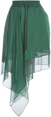 Sacai Solid Satin Skirt Elastic Waist Asymmetrci