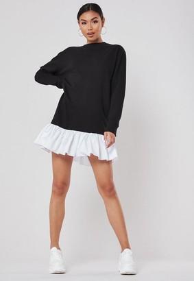 Missguided Black Poplin Frill Hem Sweater Dress