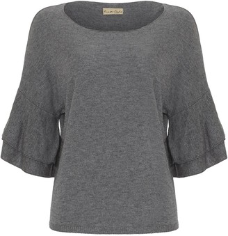 Phase Eight Damia Double Frill Sleeve Knit Top, Grey