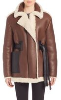Acne Studios Belted Leather & Shearling Jacket