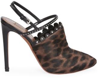 Alaia Leopard-Print Calf Hair Slingback Pumps