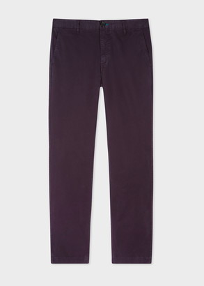 Men's Slim-Fit Aubergine Stretch Pima-Cotton Chinos