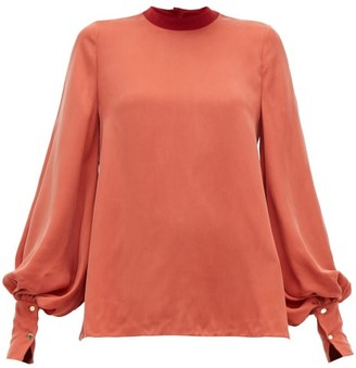 Roksanda Cala Balloon-sleeve Twill Blouse - Womens - Red