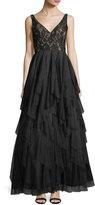 Aidan Mattox Layered-Skirt V-Neck Gown