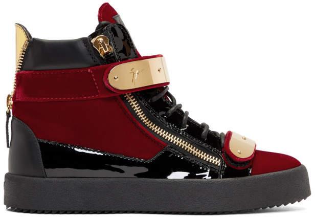 Giuseppe Zanotti Red Velvet May London High-Top Sneakers