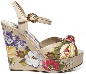 Dolce & Gabbana Floral Print Leather Sandals