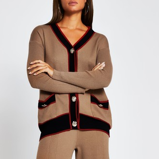 River Island Womens Brown ribbed gold button long line cardigan
