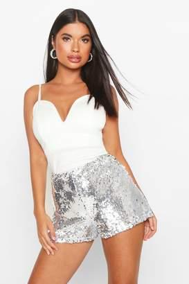 boohoo Petite Sequin Tailored Shorts
