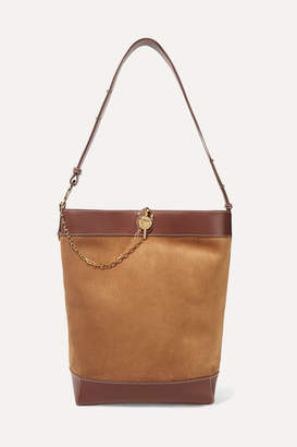 J.W.Anderson Lock Leather-trimmed Suede Tote - Tan