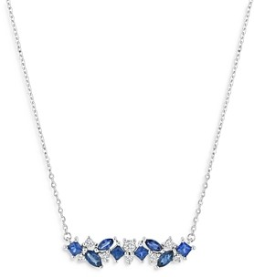 Bloomingdale's Sapphire & Diamond Necklace in 14K White Gold, 18 - 100% Exclusive